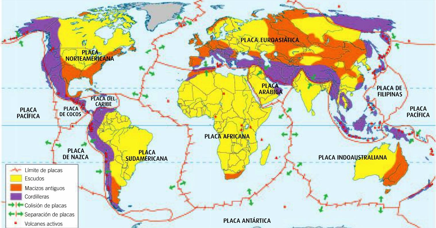Resultado de imagen para mapa de todas las placas tectonicas