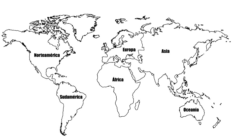Mapamundi con sus continentes - MapaMundi