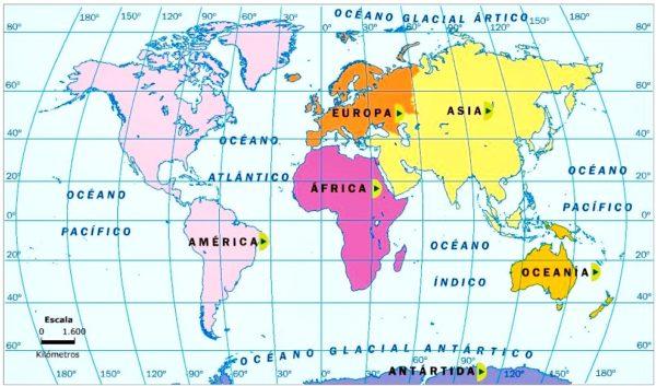Mapamundi con sus continentes