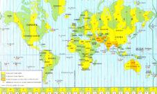 Mapamundi con husos horarios
