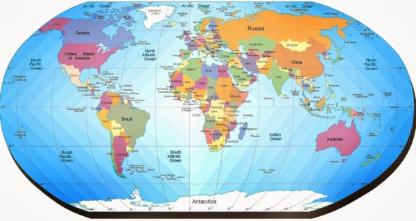 Mapamundi con paralelos y meridianos
