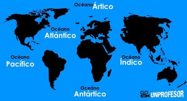 Mapamundi con sus océanos