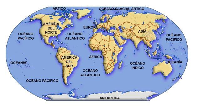 Resultado de imagen de mapa mares y oceanos